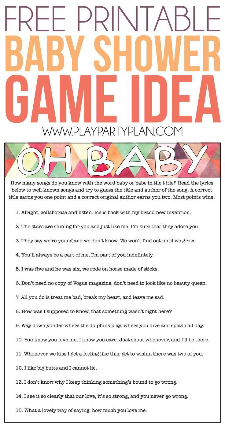 Free Printable Baby Shower Songs Guessing Game Play