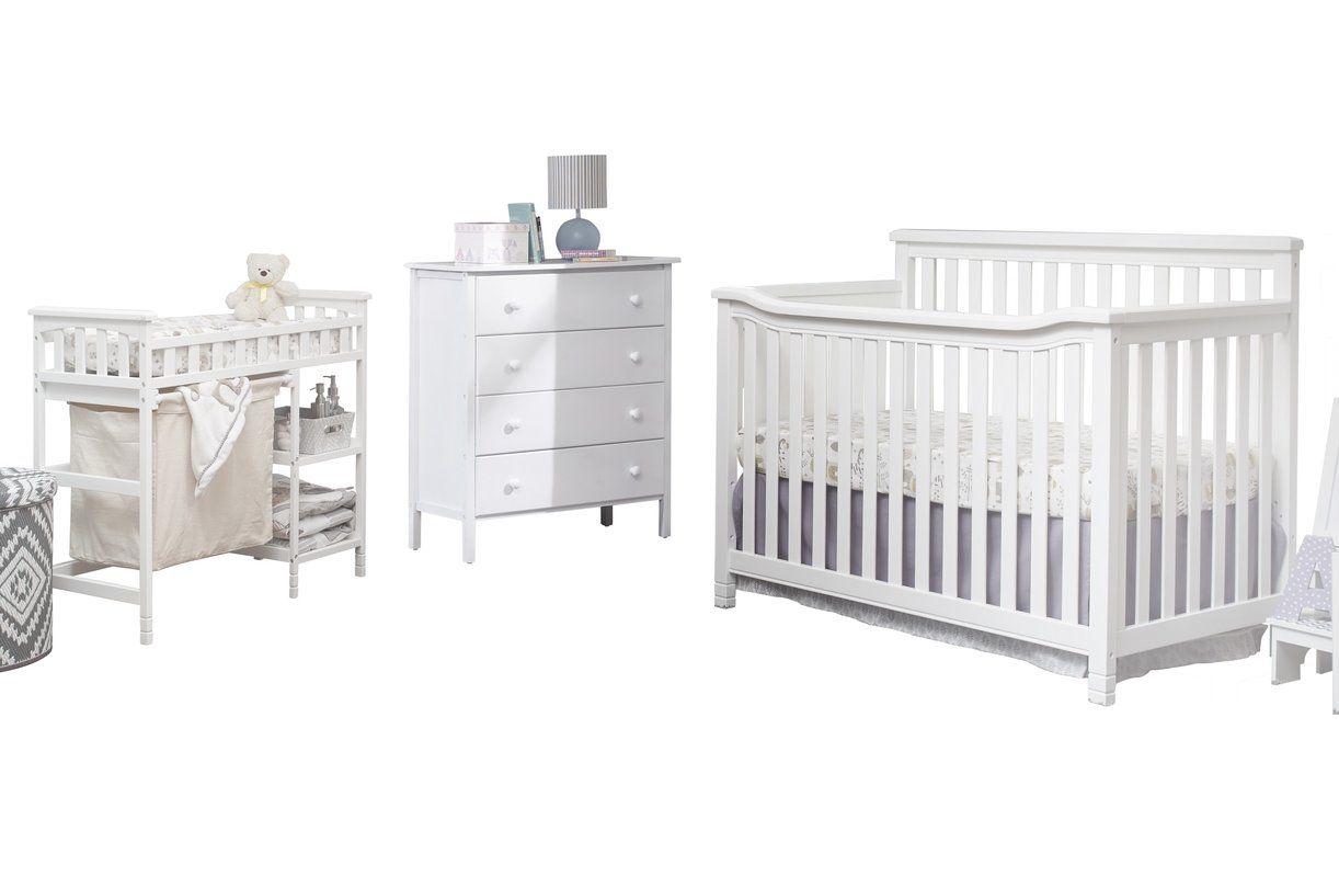 Greyleigh Benbrook 2 In 1 Convertible 3 Piece Crib Set Nursery Furniture Sets Baby Boy Room Nursery Blue Crib