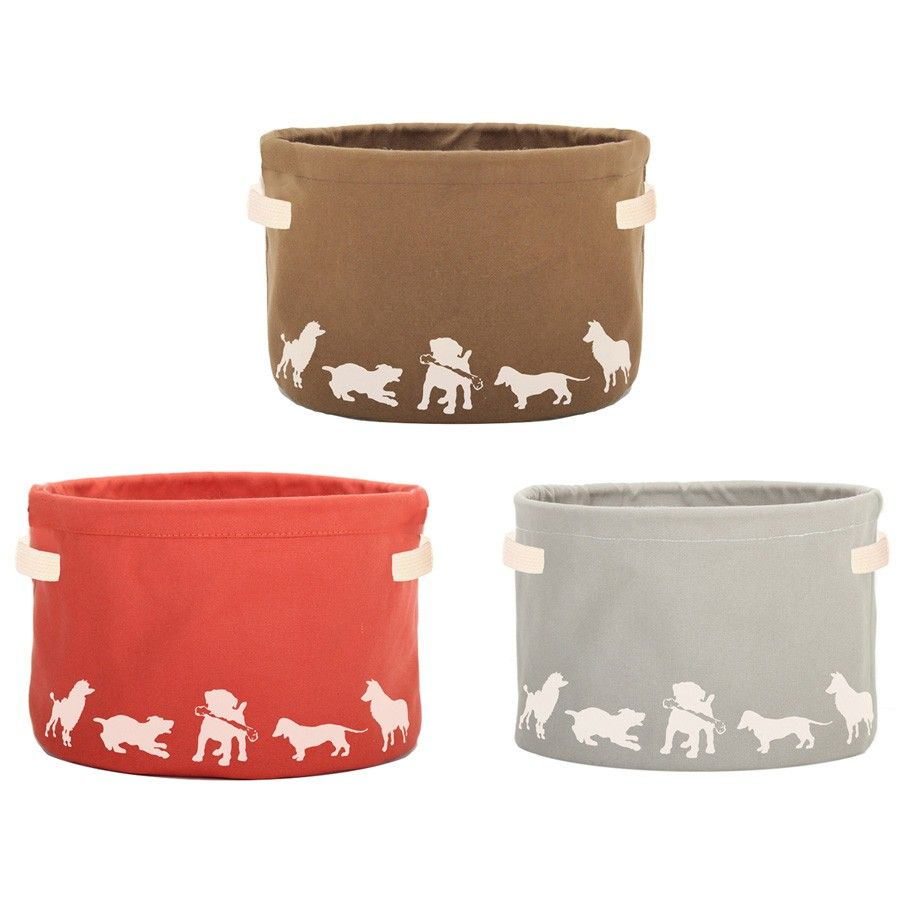 Tidy Up With Our Silhouette Canvas Dog Toy Storage Container This