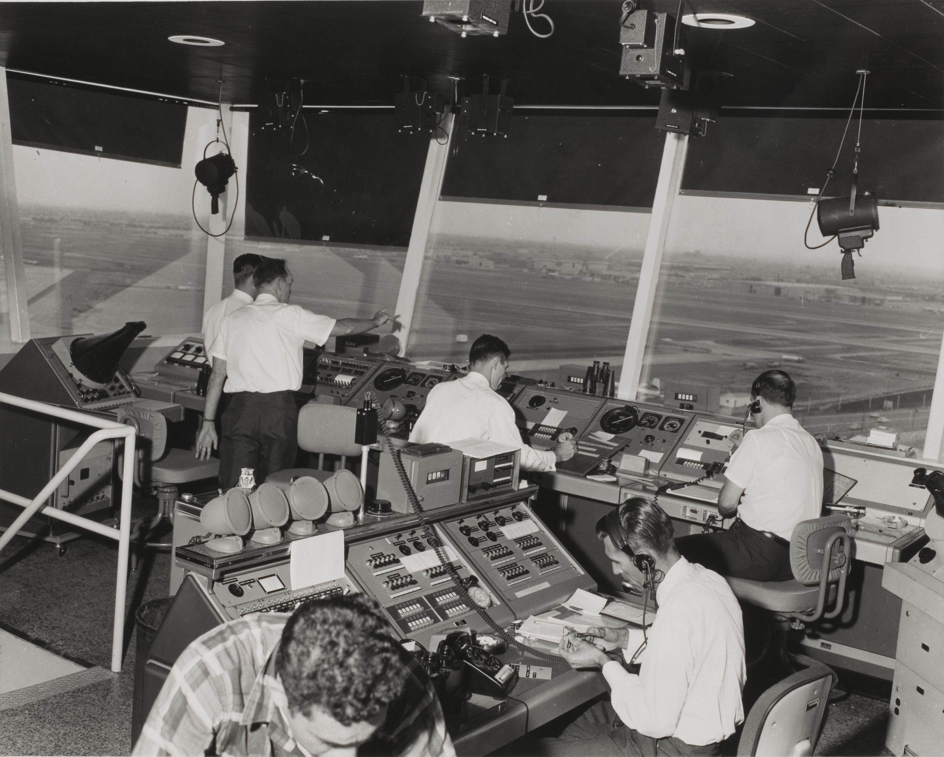 Air traffic controllers hard at work, with a view from the