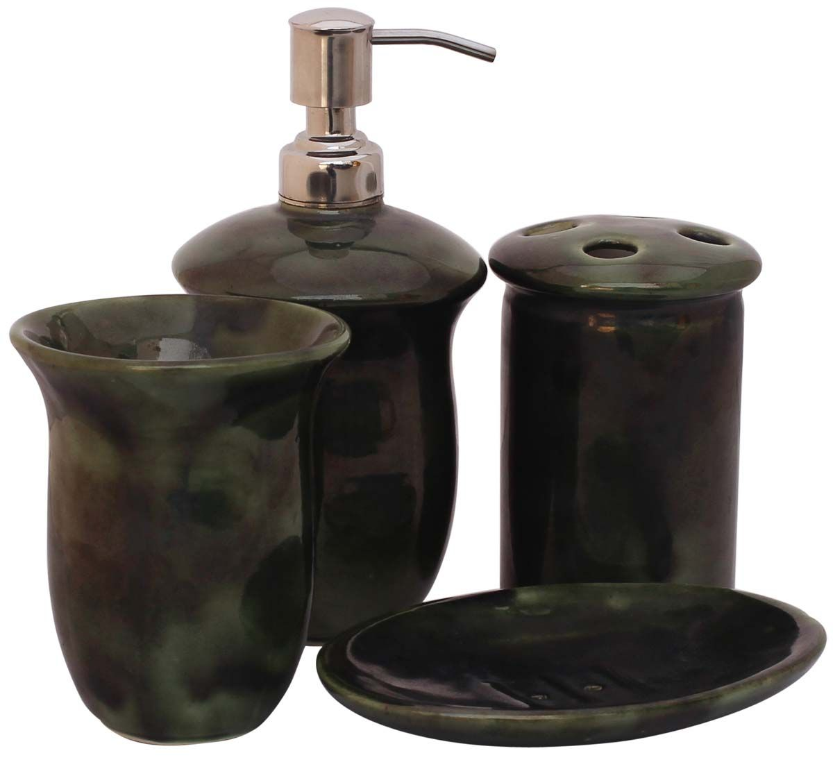 wholesale handmade set of 4 bathroom accessories in olive green from wholesale distributors in indiadecorative soap dish tumbler toothbrush holder - Bathroom Accessories Distributors