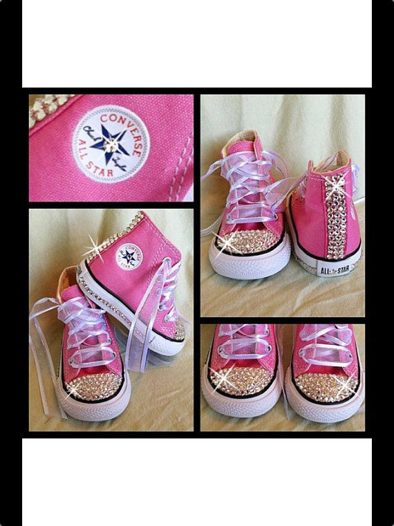 2ec6ca6edcb6 Pink Blinged Out Chuck Taylor Converse Sneakers on Etsy