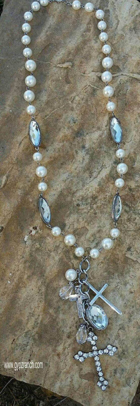 Cameron Cross Long Necklace - Pearl www.gypzranch.com