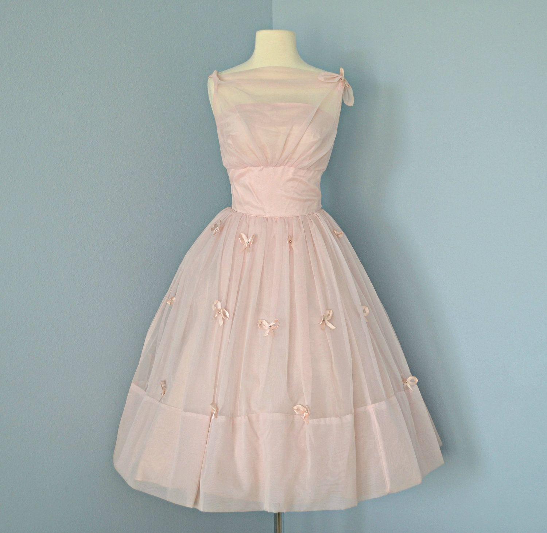 Vintage Pink Wedding Dress...Beautiful 1950\'s Pale Pink Chiffon ...