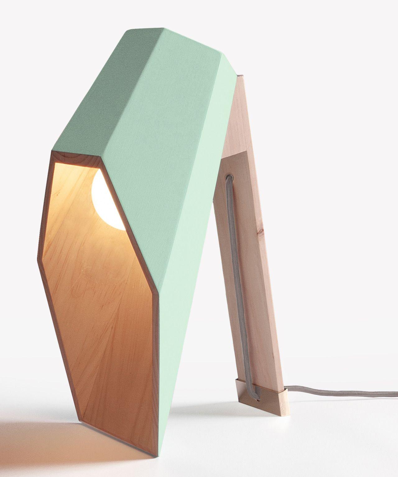 """dezeen: """"Lamp designed with a hexagonal wooden shade that extends over its light bulb like a hood » """""""