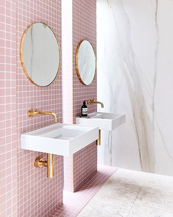 Black White And Pink Bathroom Inside Closet Avec Images