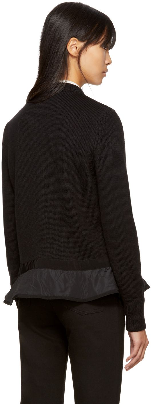 Moncler - Black Down Knit Peplum Jacket