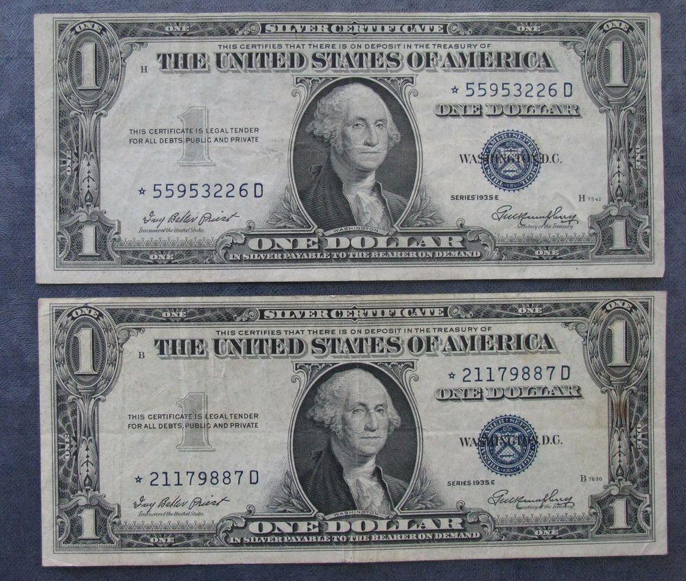 One Dollar 1935e Silver Certificates Morgan Silver Dollar Coin