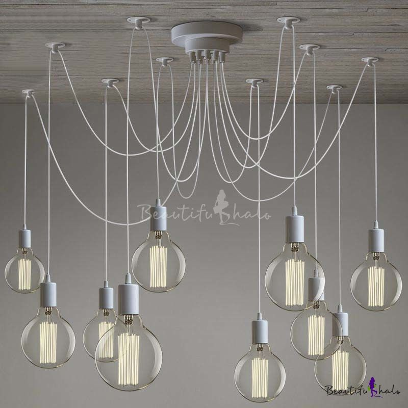 Gracefully White 10 Light Industrial Style Multi Pendant Swag Lighting