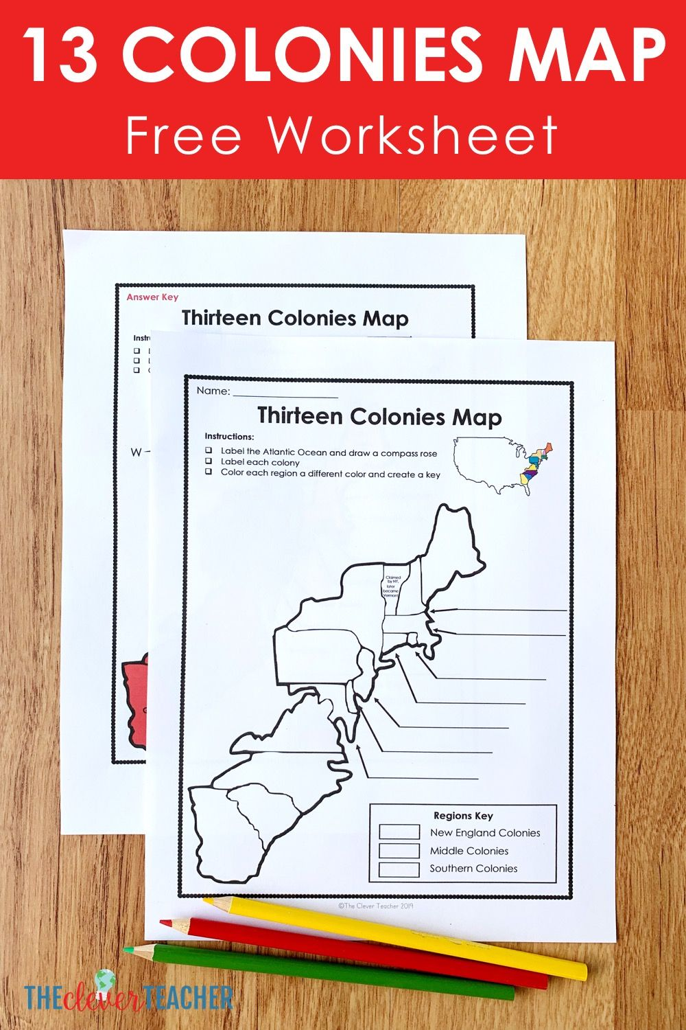 13 Colonies Free Map Worksheet And Lesson For Students 13 Colonies Activities 13 Colonies Map Teaching History