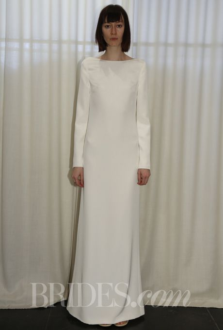 Spring 2014 modern wedding dresses from vera wang monique for Sleek wedding dresses with sleeves