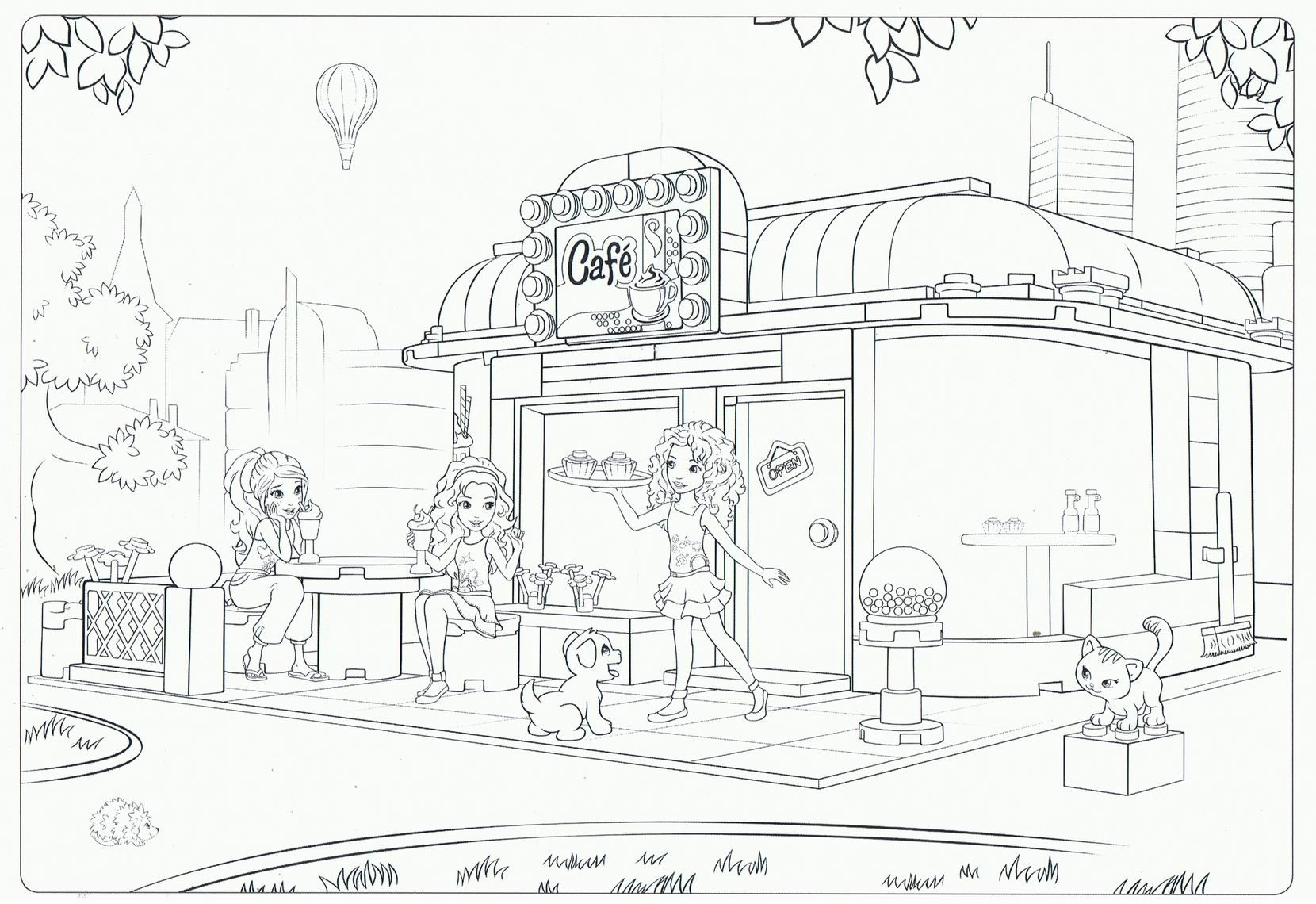 Ausmalbilder Playmobil Super 4 : Lego Friends Cafe Coloring Pages Isa Dibujos Pinterest Friends