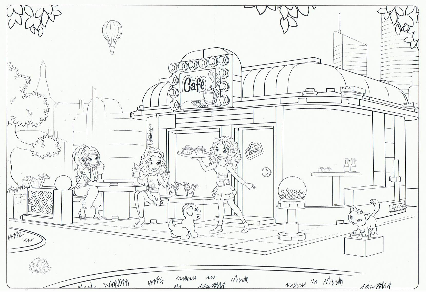 lego friends cafe coloring pages  dibujos legos colores
