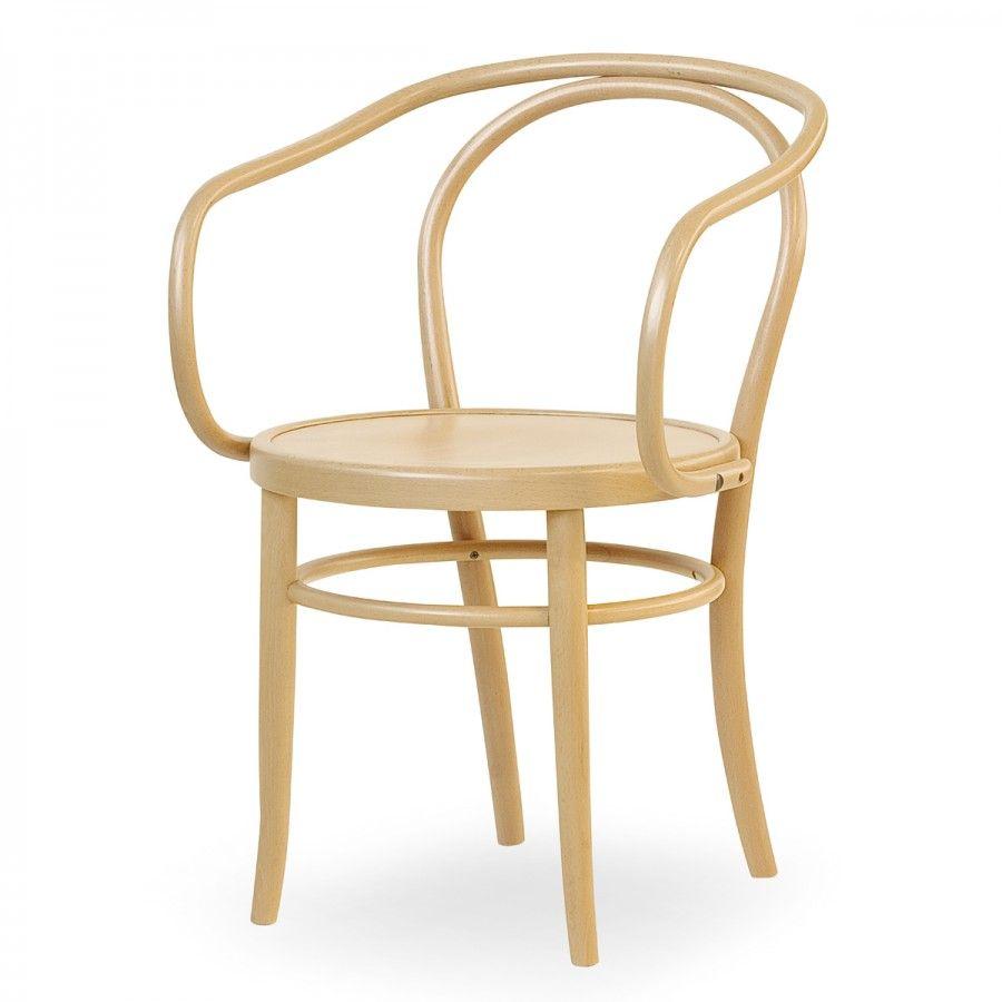 SEL 08, questa sedia con braccioli è realizzata in legno di faggio ...