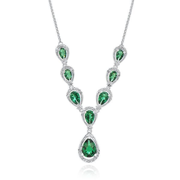 Lab created emerald lab created white sapphire y necklace in lab created emerald lab created white sapphire y necklace in sterling silver mozeypictures Image collections