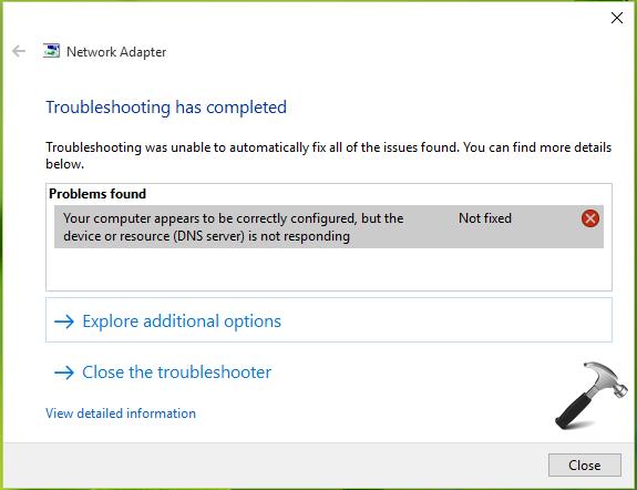 wifi error dns server not responding