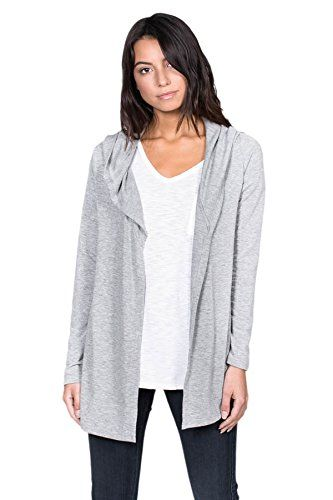 54ed33ad4210 Alexander David Womens French Terry Open Front Hoodie Cardigan ...