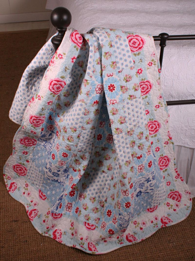 Annies Cottage Floral Cotton Quilt Throw