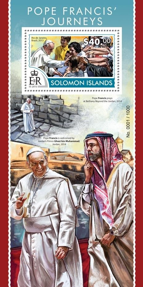Post stamp Solomon Islands SLM 15312 bPope Francis' journeys (Rio de Janeiro, Brazil, 2013)
