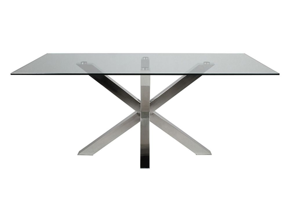 Mars Glass Dining Table With X Shaped Base | Dining Tables From FADS