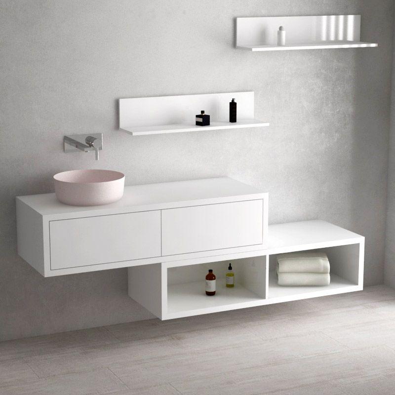 Ensemble meuble salle de bains 120 cm + caisson rangement et ...