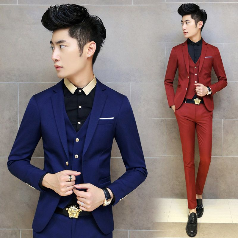 Hot 2015 Korean Tuxedo Men Suit Slim Fit Mens Suits With Pants 3