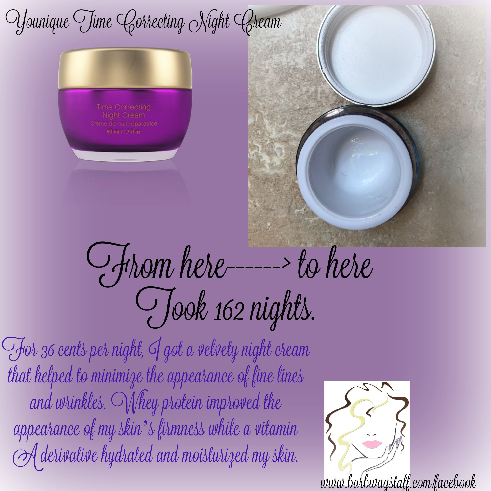 Younique night cream costs me 36 cents Canadian per night to use