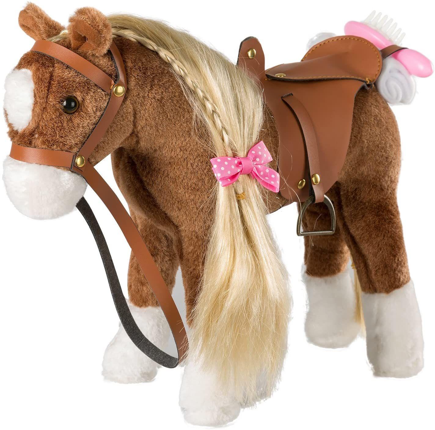 HollyHOME Stuffed Animal Unicorn Horse Pretty Plush Unicorn Pony Toy Pretend Play Horse 11 inches White