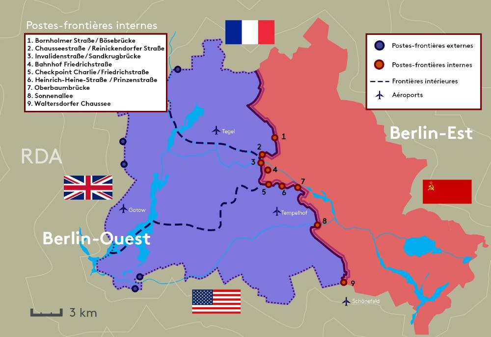 carte mur de berlin Carte: L'Allemagne de Berlin Est et L'RDA   09 novembre 1989 Chute