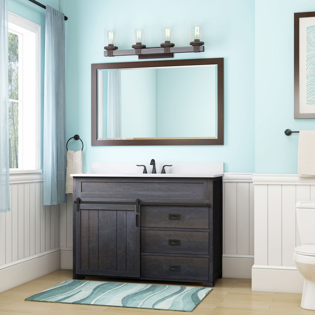 Style Selections Morriston 48 In Distressed Java Single Sink
