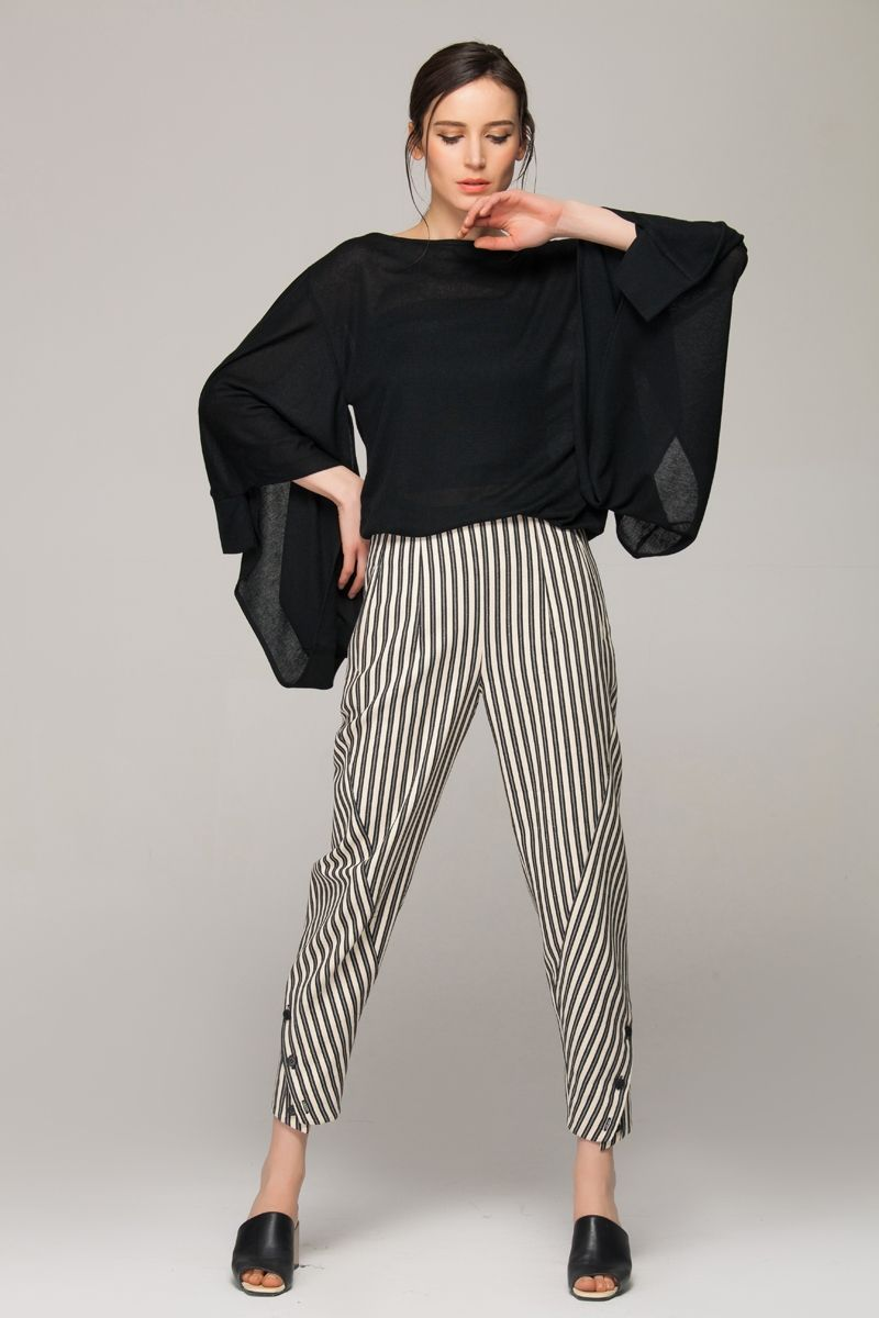 Black men haircut styles chart peg trousers in monochrome stripes  frontrowshop  outfits