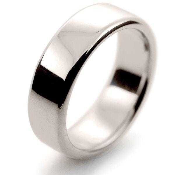 82ddc59b6d753 18ct White Gold Wedding Rings Heavy Slight Court - 7mm | Wedding ...