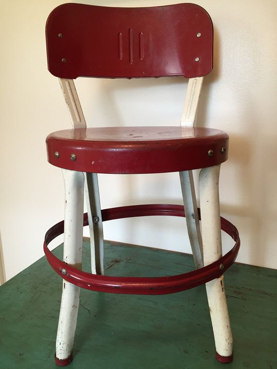 Astounding Vintage Red Retro Childs Kitchen Chair Stool Vintage Home Caraccident5 Cool Chair Designs And Ideas Caraccident5Info