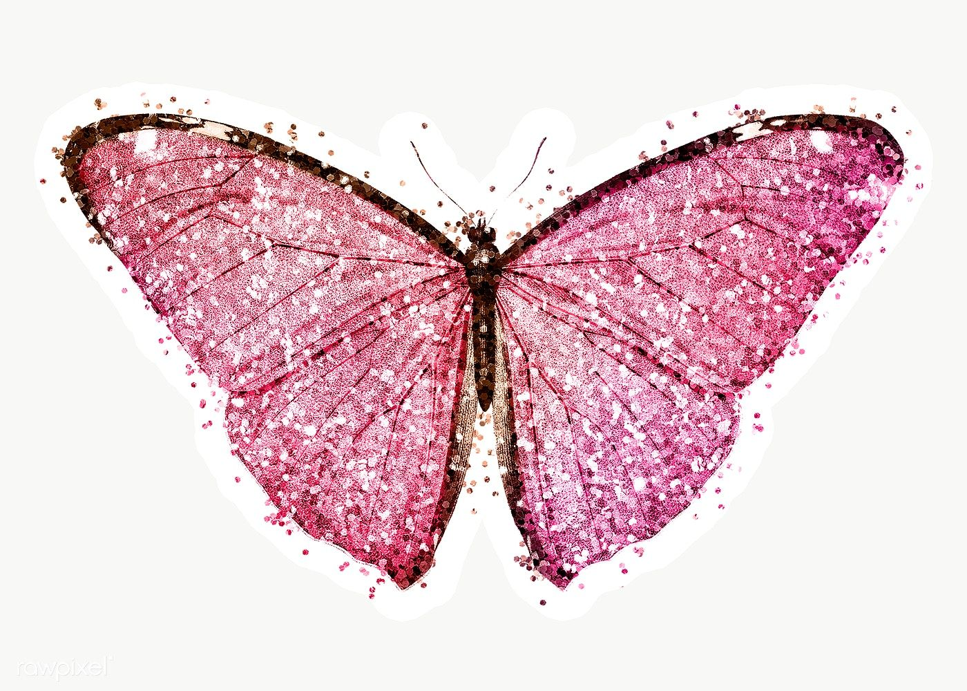 Glitter Pink Butterfly Sticker With White Border Free Image By Rawpixel Com Ployploy Pink Butterfly Butterfly Illustration Butterfly Design