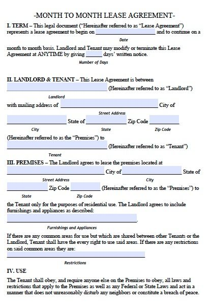 Printable Sample Lease Rental Agreement Form Real Estate Forms - month to month lease agreement