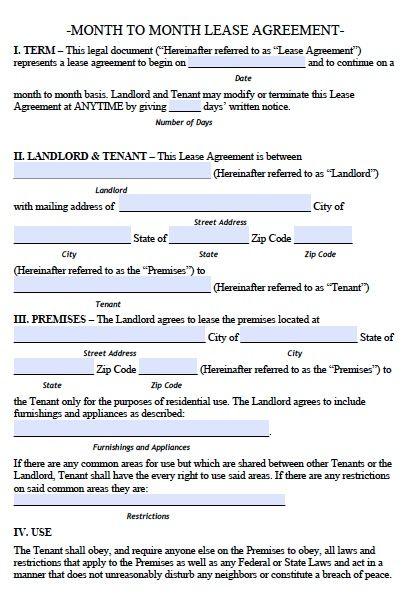 Printable Sample Lease Rental Agreement Form Real Estate Forms