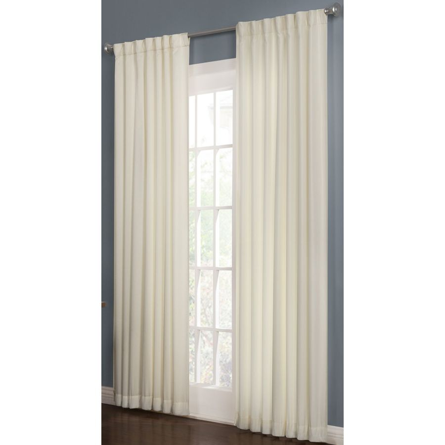 Drop Cloth Curtains Lowes Shop Allen Roth 63 In L Thermal Snow Beeston Curtain Panel At