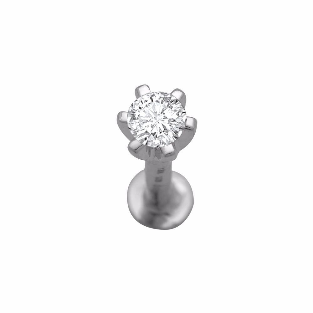 14k White Gold Over 0 10 Ct Solitaire Prong Set Stud Screw Back