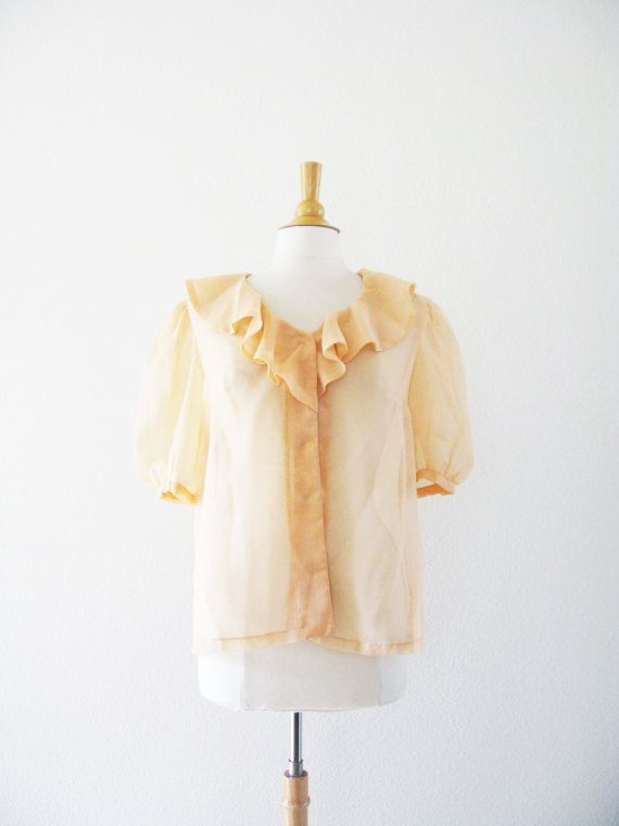 The Essential 1940s Style Blouse Vintage Frills: Vintage 1940's Apricot Chiffon Ruffle Blouse. $52.00, Via