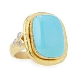 Elizabeth Locke 19K Gold Cushion-Cut Turquoise Ring with Diamonds LdYtWx