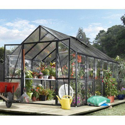 Easy Grow 8 X 12 Greenhouse Black By Easy 2720 00 Heavy Gauge Extruded Aluminum Frame Features A Blac Greenhouse Polycarbonate Greenhouse Greenhouse Kit