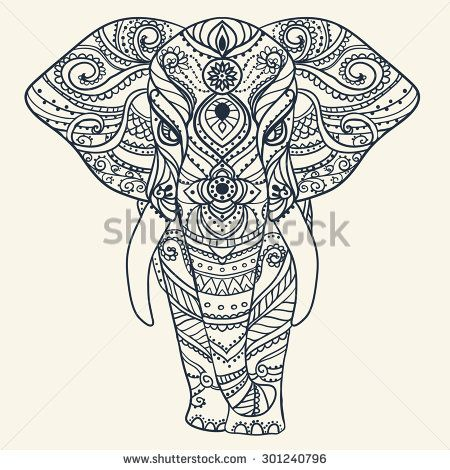 Greeting Beautiful card with Elephant. Frame of animal made in ...