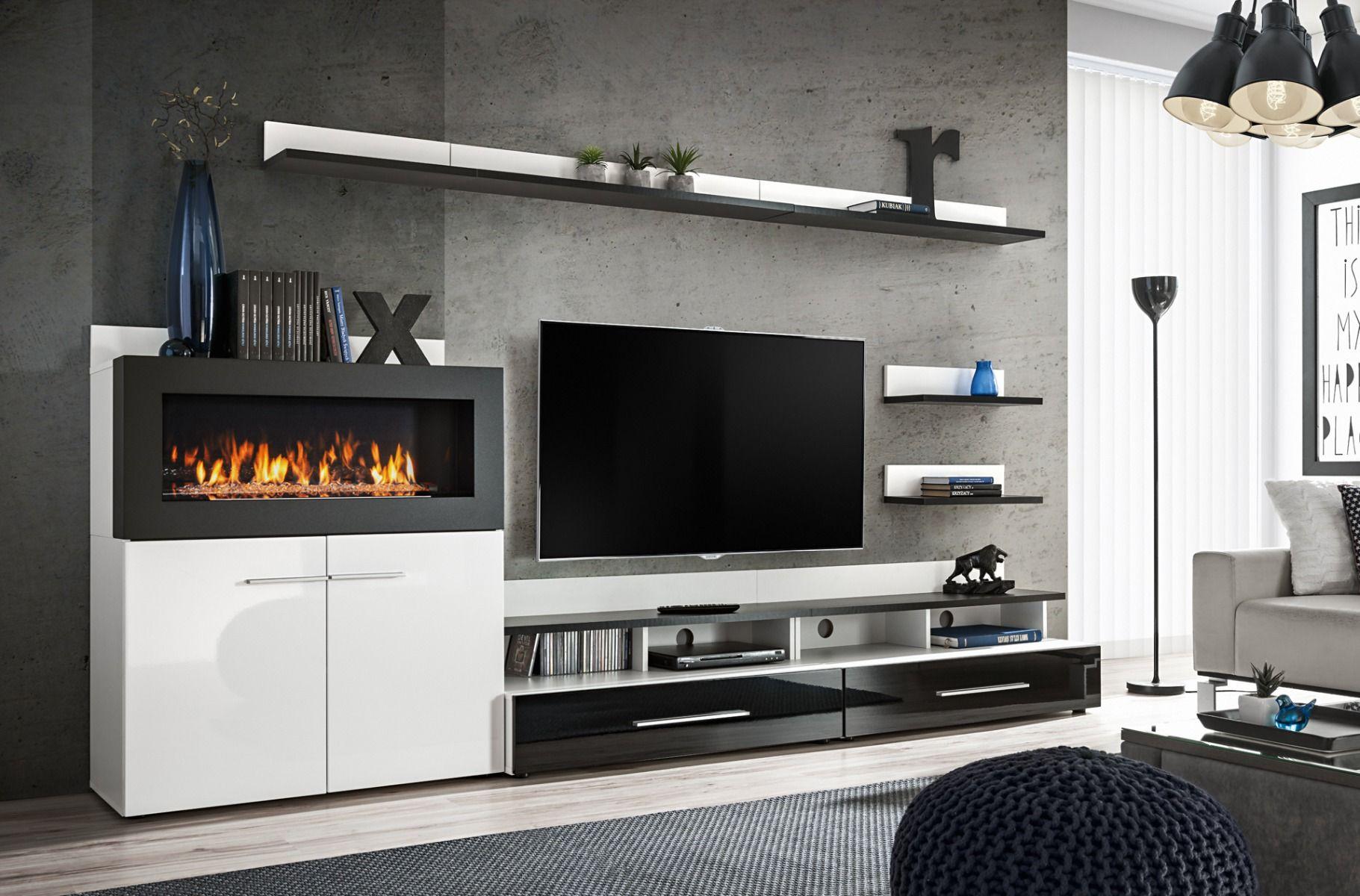 Meuble Tv Avec Bibliothèque cedar - entertainment wall unit with fire place | meuble tv