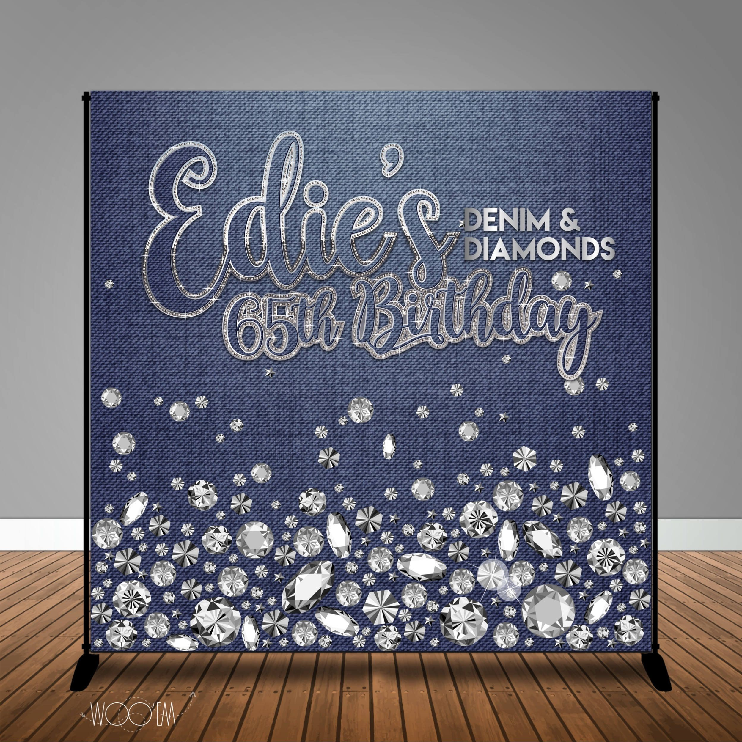 Denim And Diamonds Birthday 8x8 Backdrop Step Amp Repeat