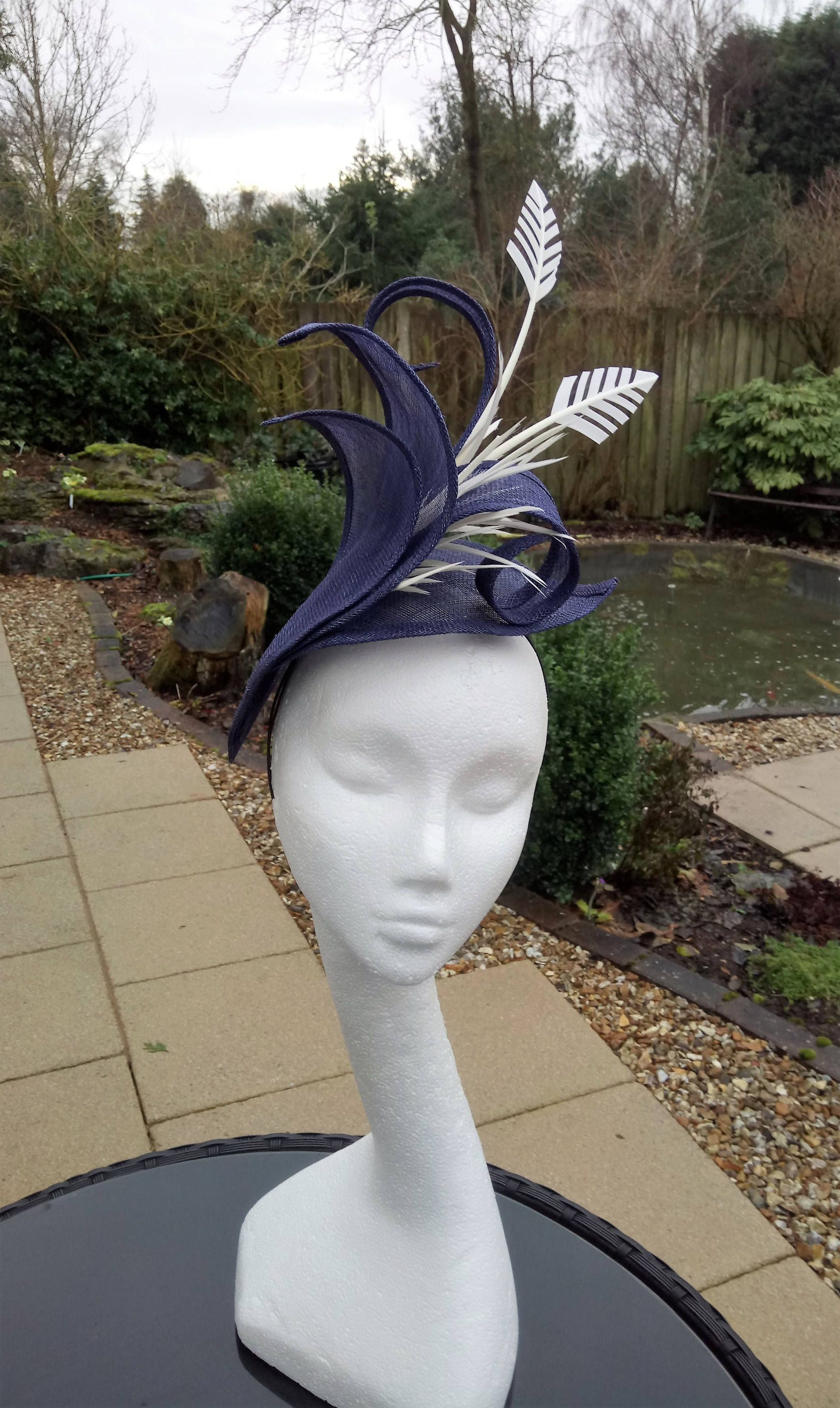 31aa1390 Navy and Ivory #Hatinator. Wedding #Hat. Mother of the Bride #Fascinator.  Kentucky Derby Fascinator. by www.JayneAlisonMillinery.co.uk on Etsy