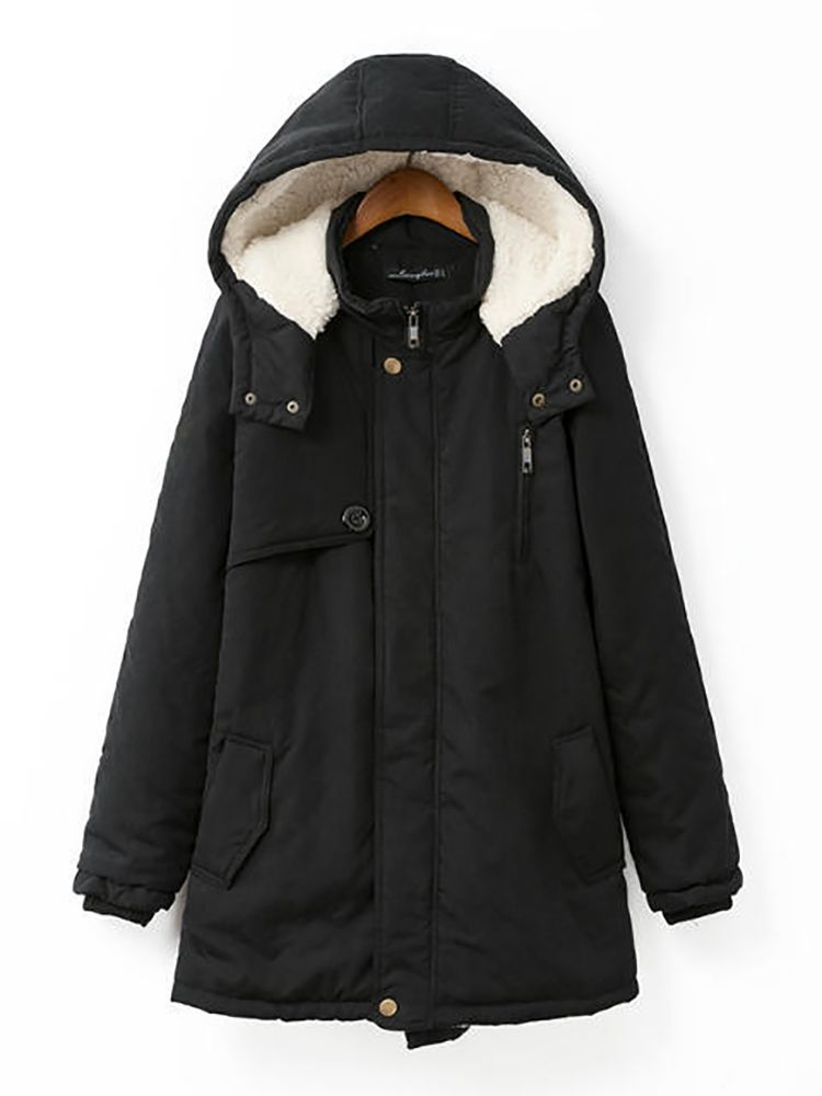 043170829be Casual Hooded Pocket Zipper Fly Coats For Women - Newchic Plus Size  Outerwear