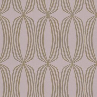 Rhythm (1916/805) - Prestigious Wallpapers - A delicate retro-geometric design of ovals within ovals repeated, to give a teardrop or chain curtain effect.  Available in 9 colours – shown in metallic gold on lavender. Please ask for sample for true colour match.