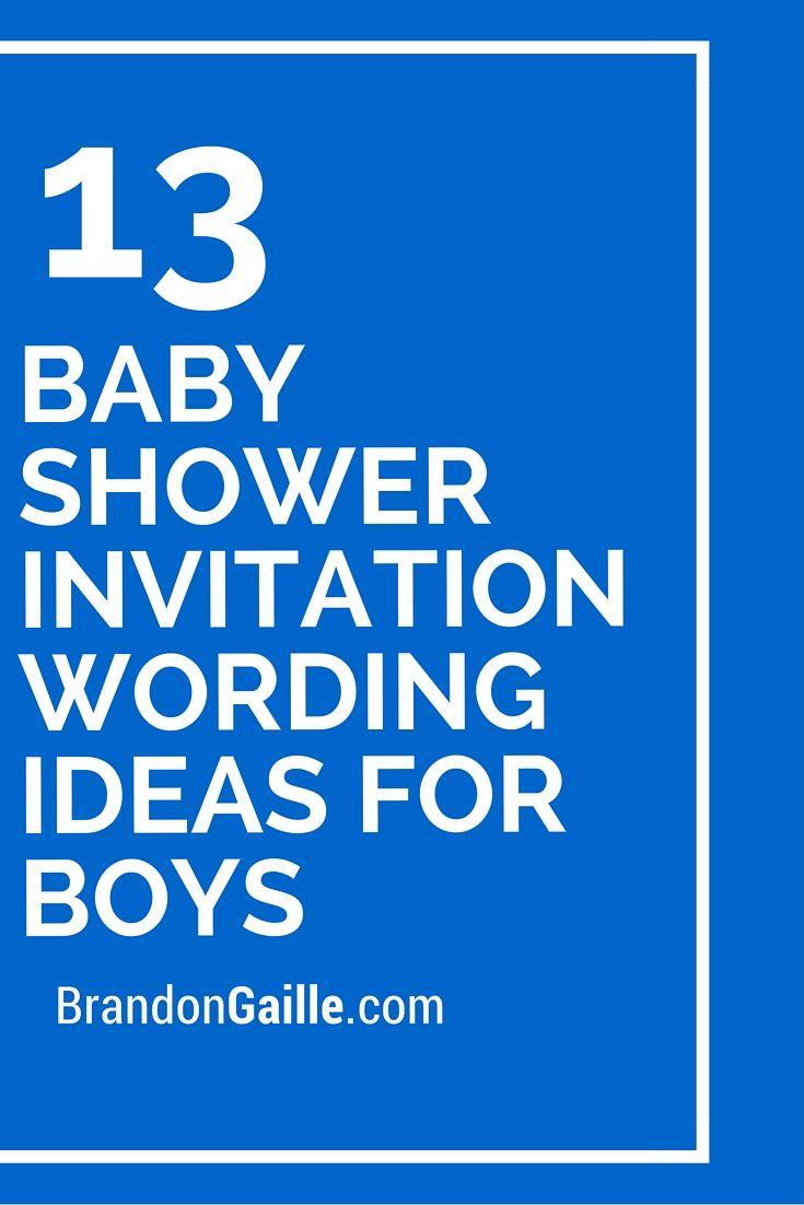 13 Baby Shower Invitation Wording Ideas for Boys | Shower ...