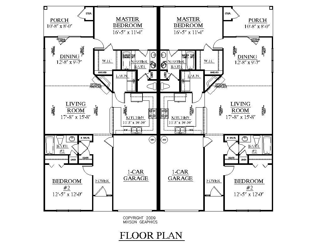 One level duplex craftsman style floor plans duplex plan for Single story duplex