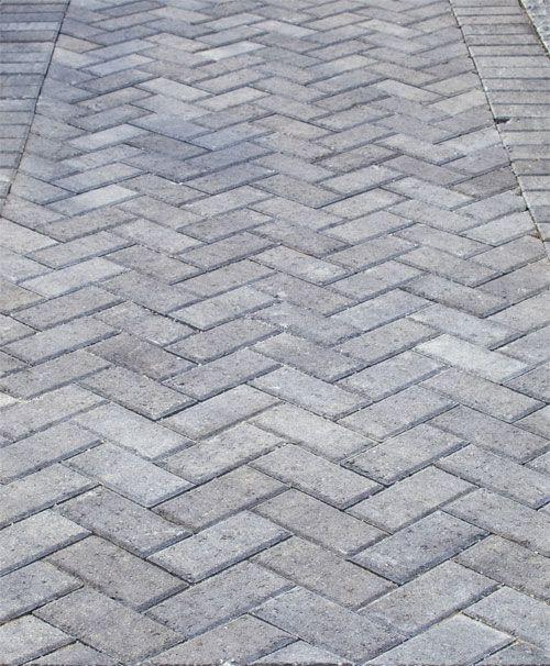 Grey Herringbone Brick Walkway